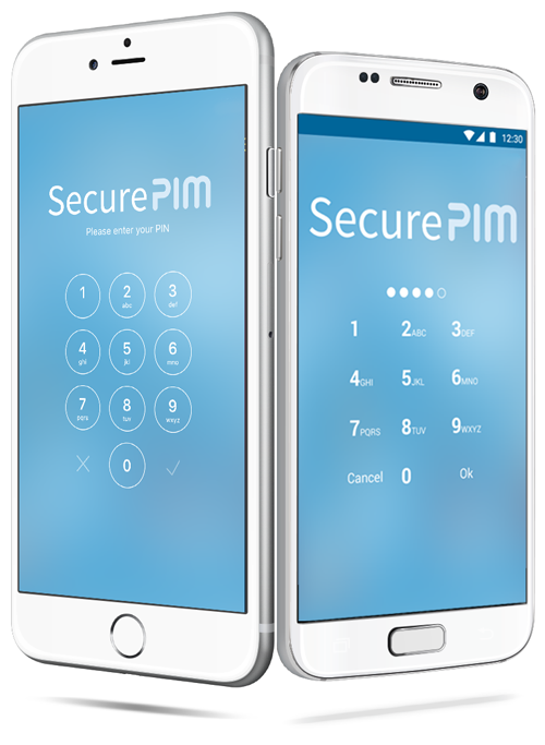 SecurePIM Login Screens on iPhone and Pixel phone