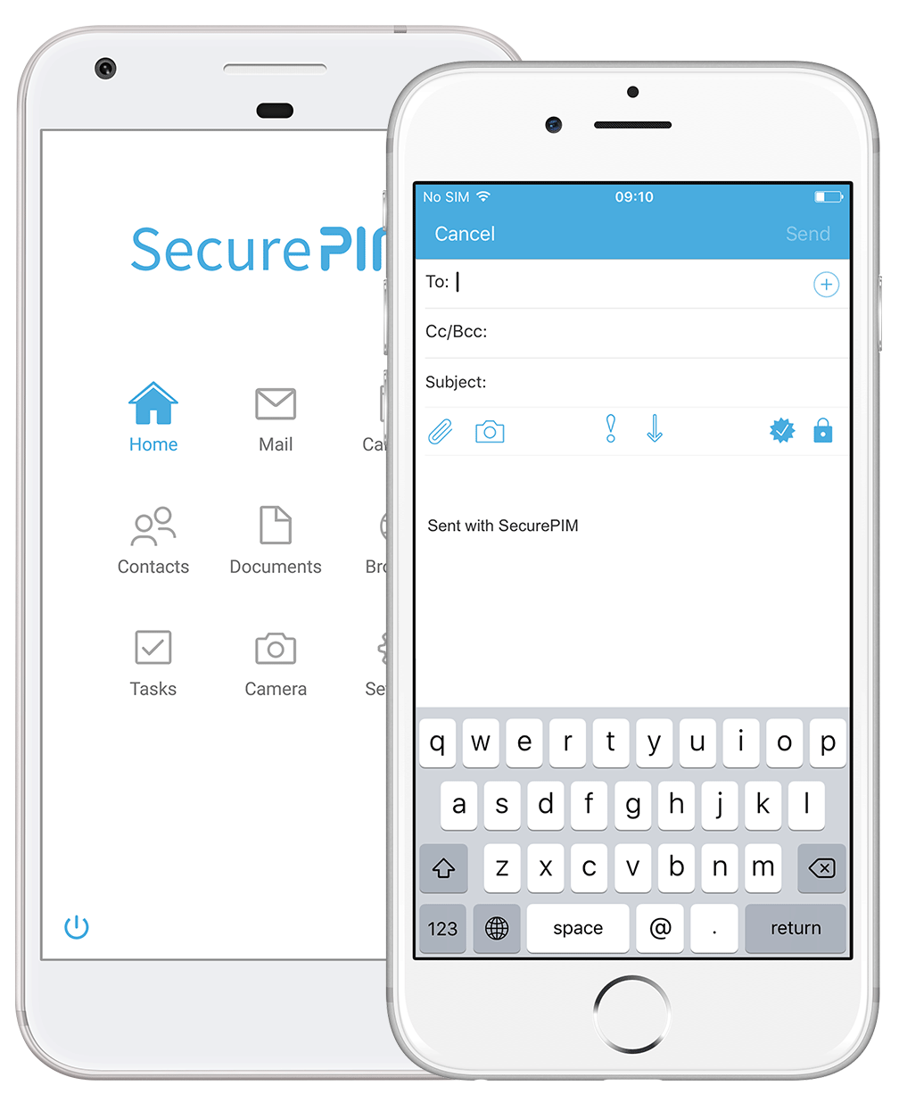 SecurePIM Mail Module email composer and central Workspace