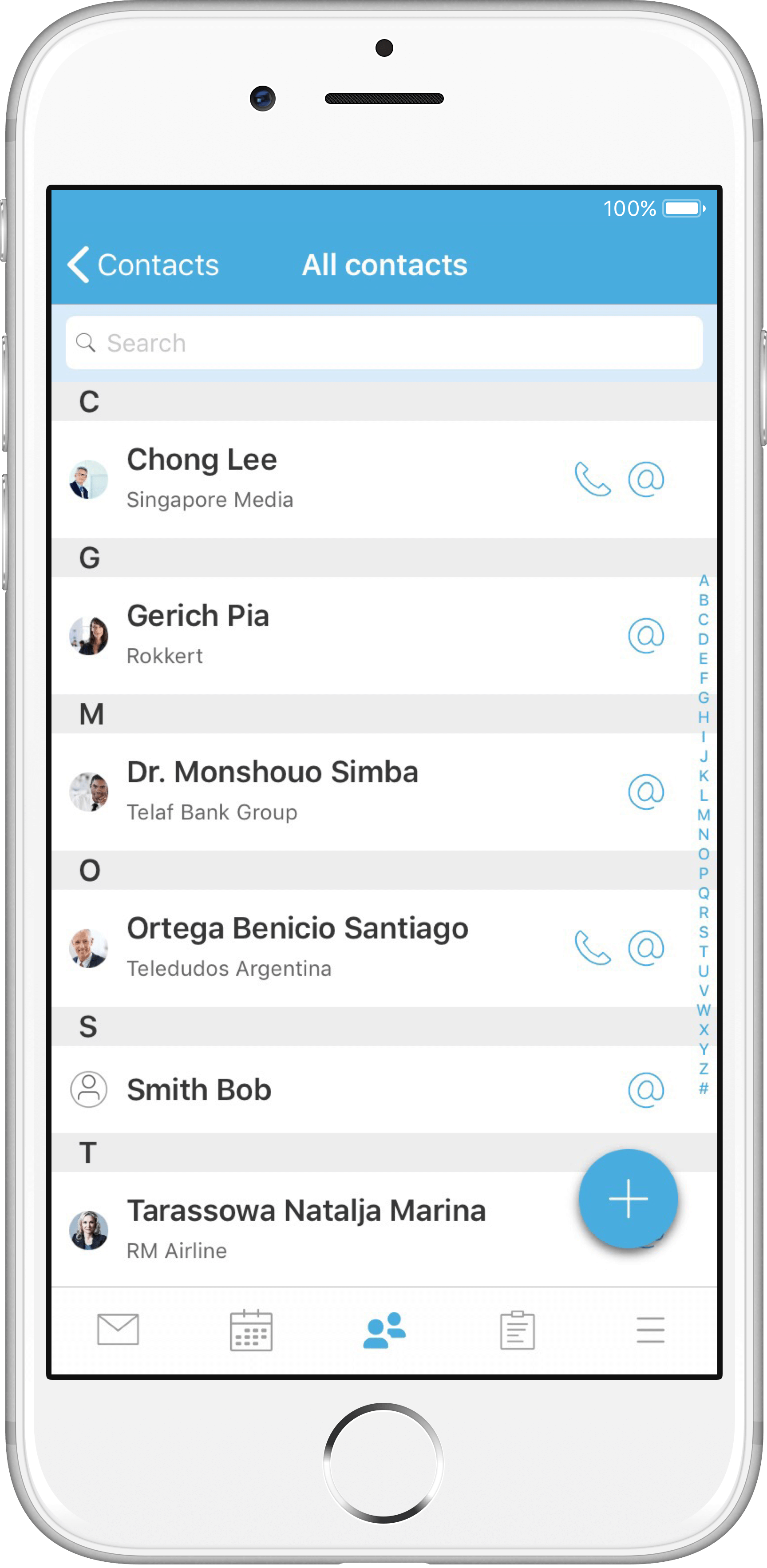 Easily create new contacts via the floating button