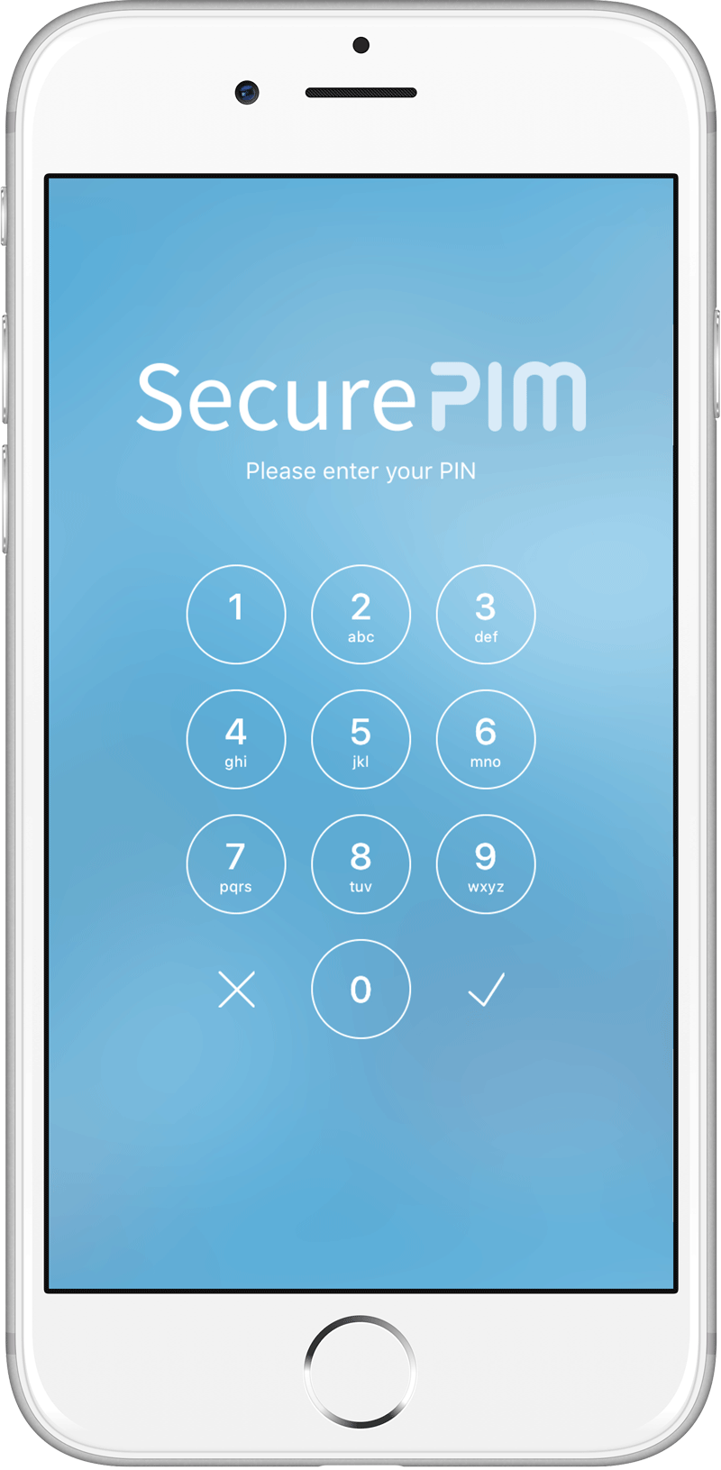 SecurePIM Login Screen on iPhone