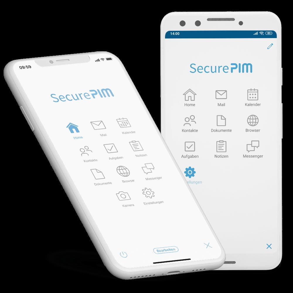 SecurePIM Mail Modul Posteingang mit Swipe Menü