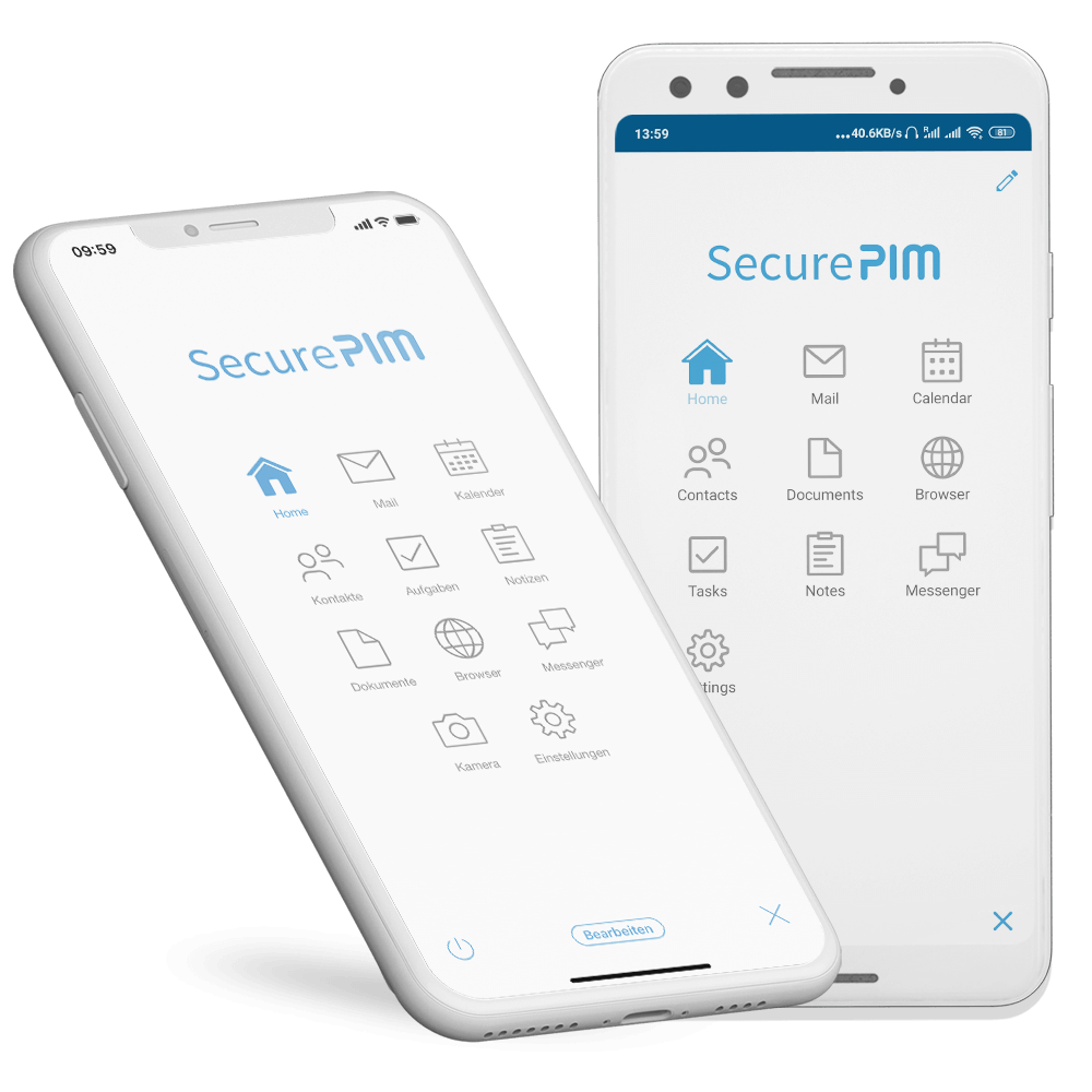 SecurePIM Mail Module Inbox with Swipe Menu