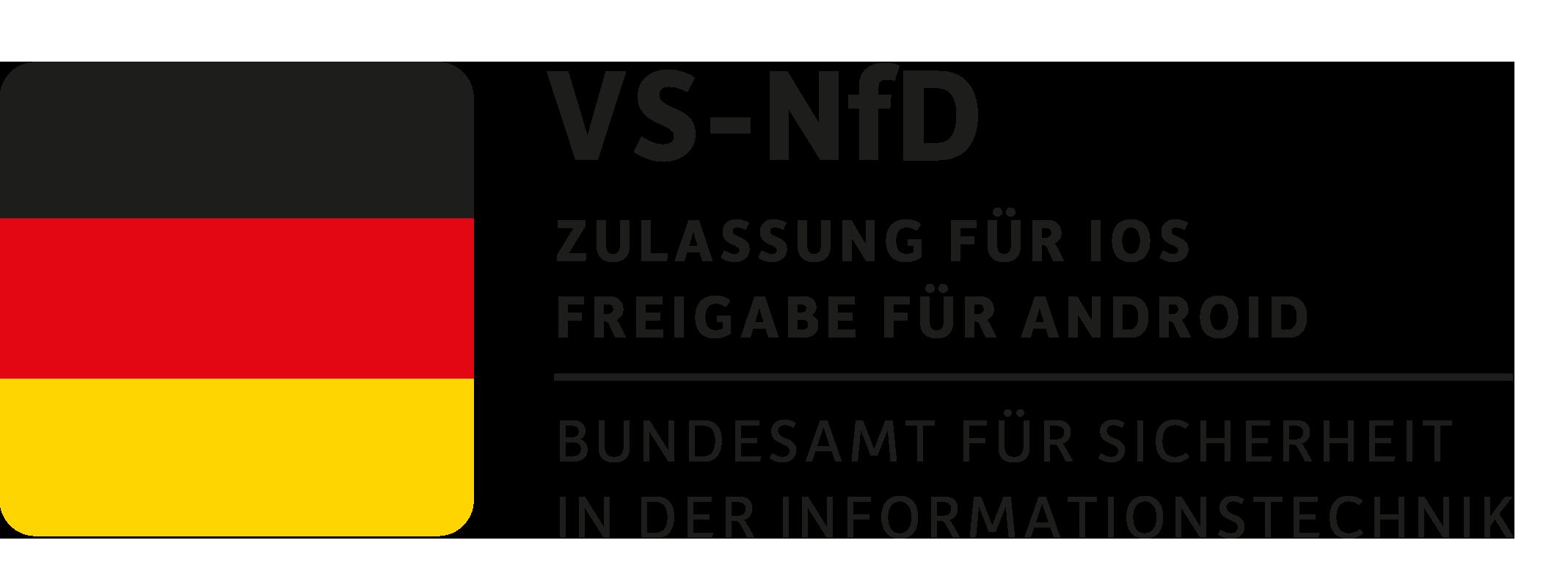 vom BSI für VS-Nfd zugelassen bzw. freigegeben